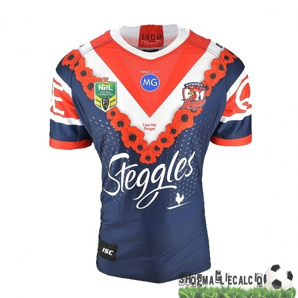 Completi Calcio Squadre Isc Anzac Rugby Maglia Sydney Roosters 2018 Blu